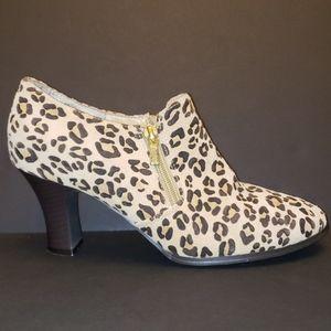 AJ Valenci Leopard Print High Heel Ankle Boots